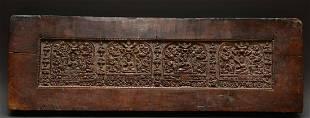 Tibetan Wooden Bon Manuscript Cover, 14th C