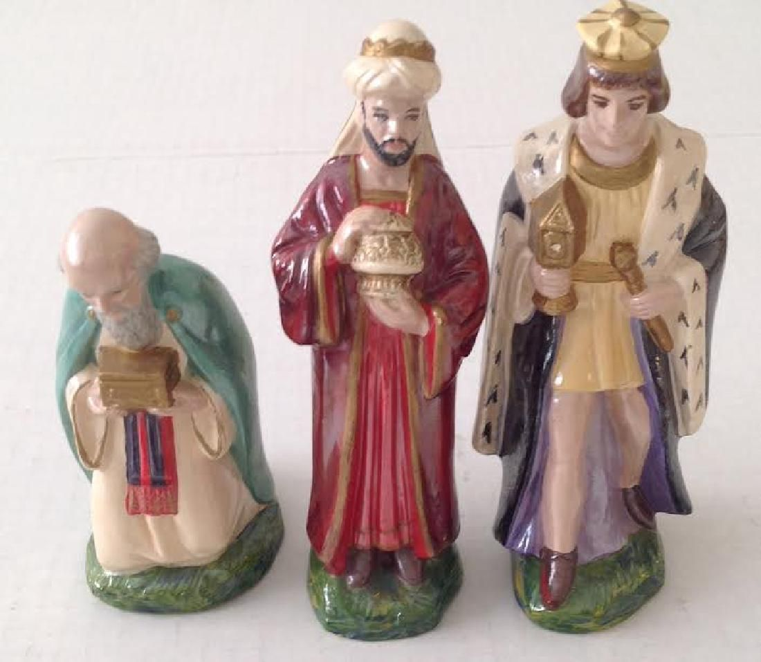Holland Mold Painted Ceramic Three Wise Men Figurines