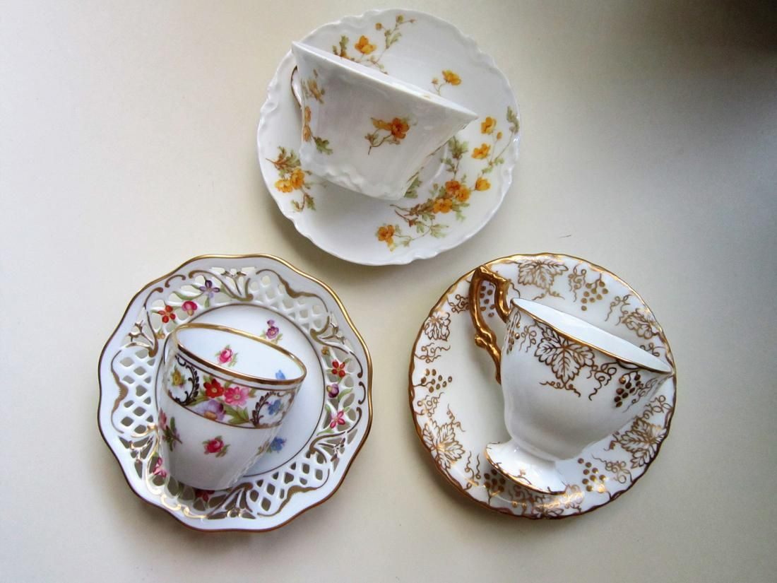 Group Of 3 Demitase Cups & Saucers