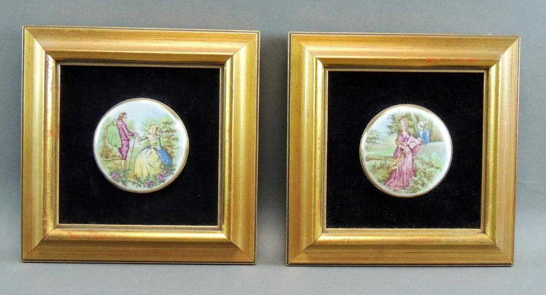 Framed Porcelain Courting Scene Medallion Pair