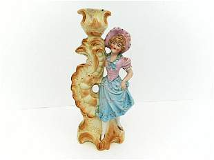 Porcelain Biscuit Polychrome Girl Candlestick