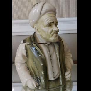 Ardalt Porcelain Humidor Tobacco Jar Green Turkish Man