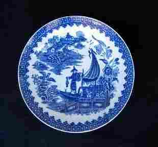 18th C Worcester Transfer Fisherman Pattern Bowl
