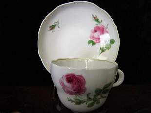 Meissen Rose Cup & Saucer
