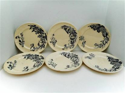 6 Longchamp Printemps Transferware Ironstone Plates