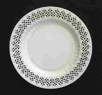 18th C Leeds Creamware Pierced Plate