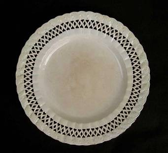 18th C Leeds Creamware Plate With Pierced Hearts Border