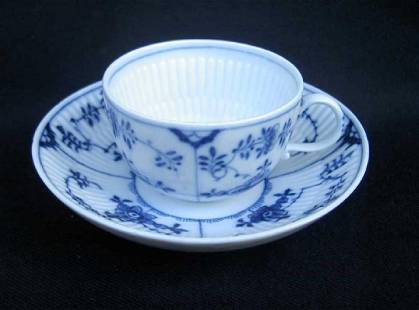 19th C. Meissen Blue And White Fluted Cup & Saucer