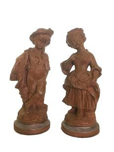 Pair of Borghese Terracotta Sculptures of Boy and Girl