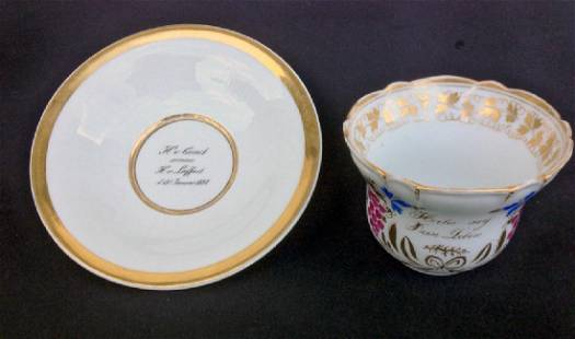 German Cabinet Cup And Saucer, A Birthday Gift 1837