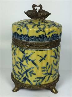 Vintages Porcelain and Bronze Tea Caddy