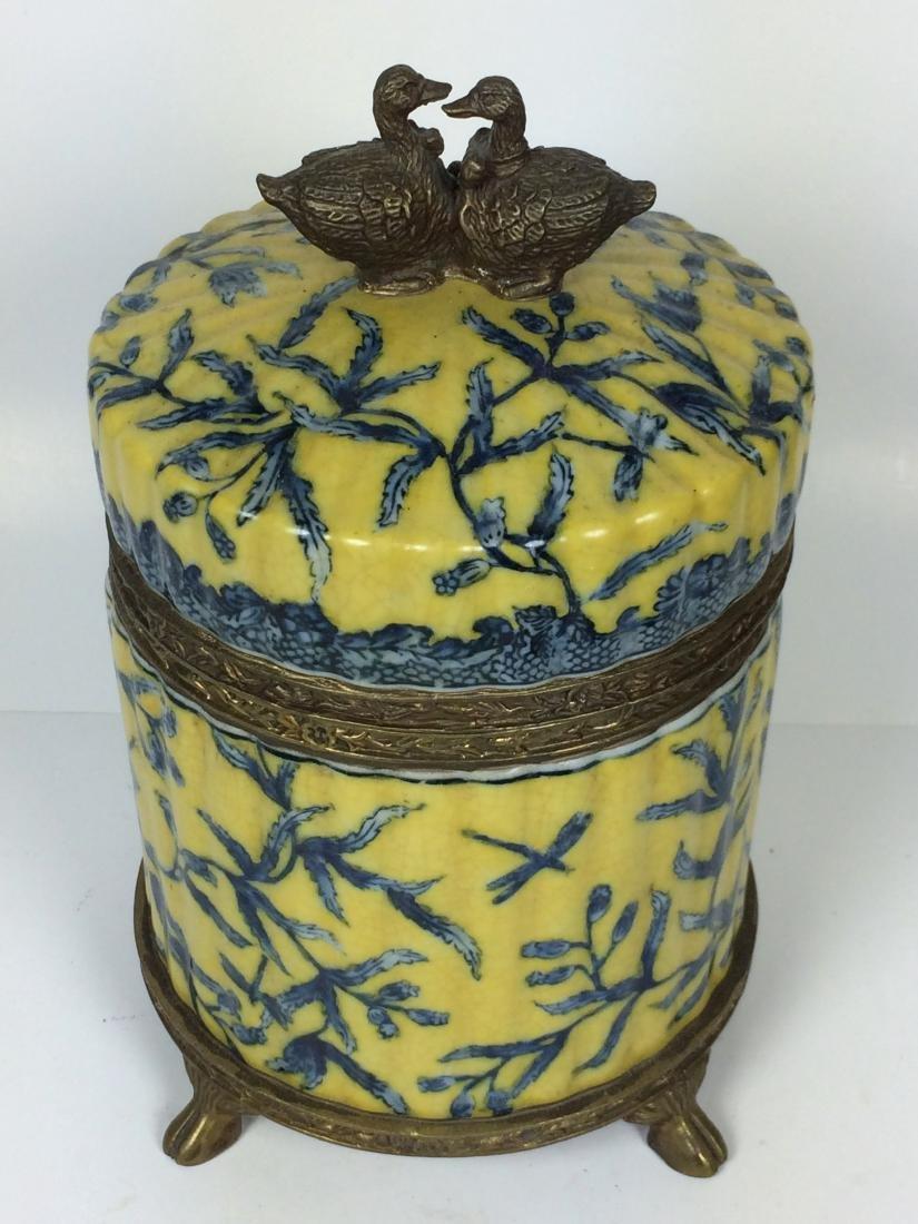 Vintages Porcelain and Bronze Tea Caddy - 2