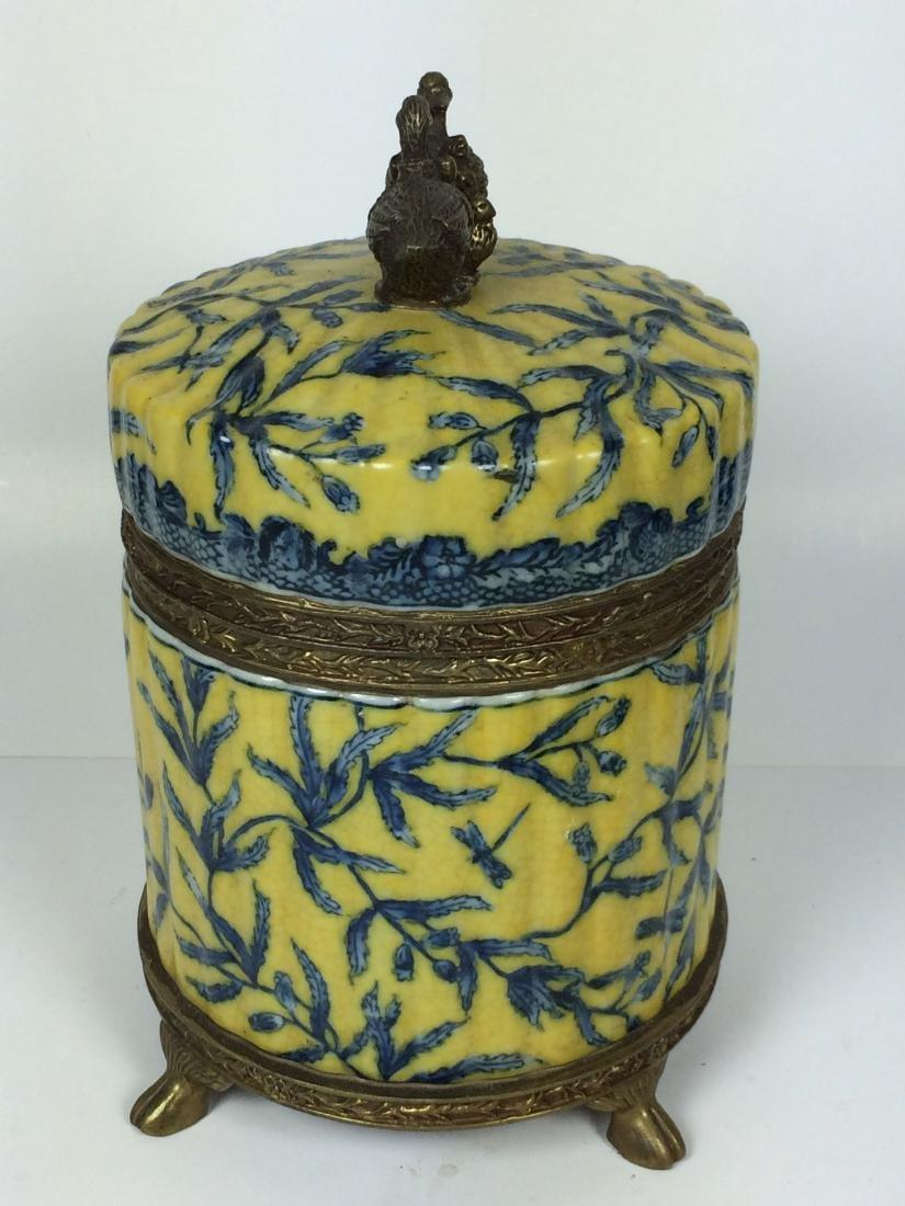 Vintages Porcelain and Bronze Tea Caddy - 3
