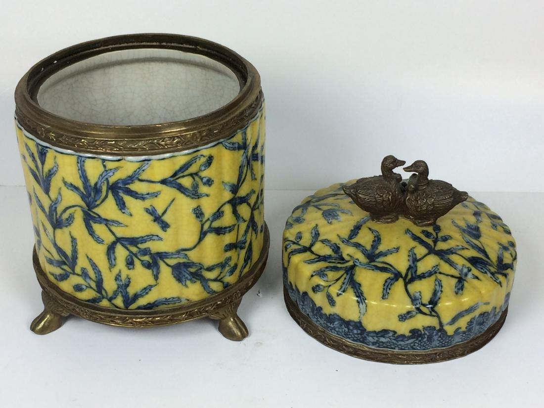 Vintages Porcelain and Bronze Tea Caddy - 4