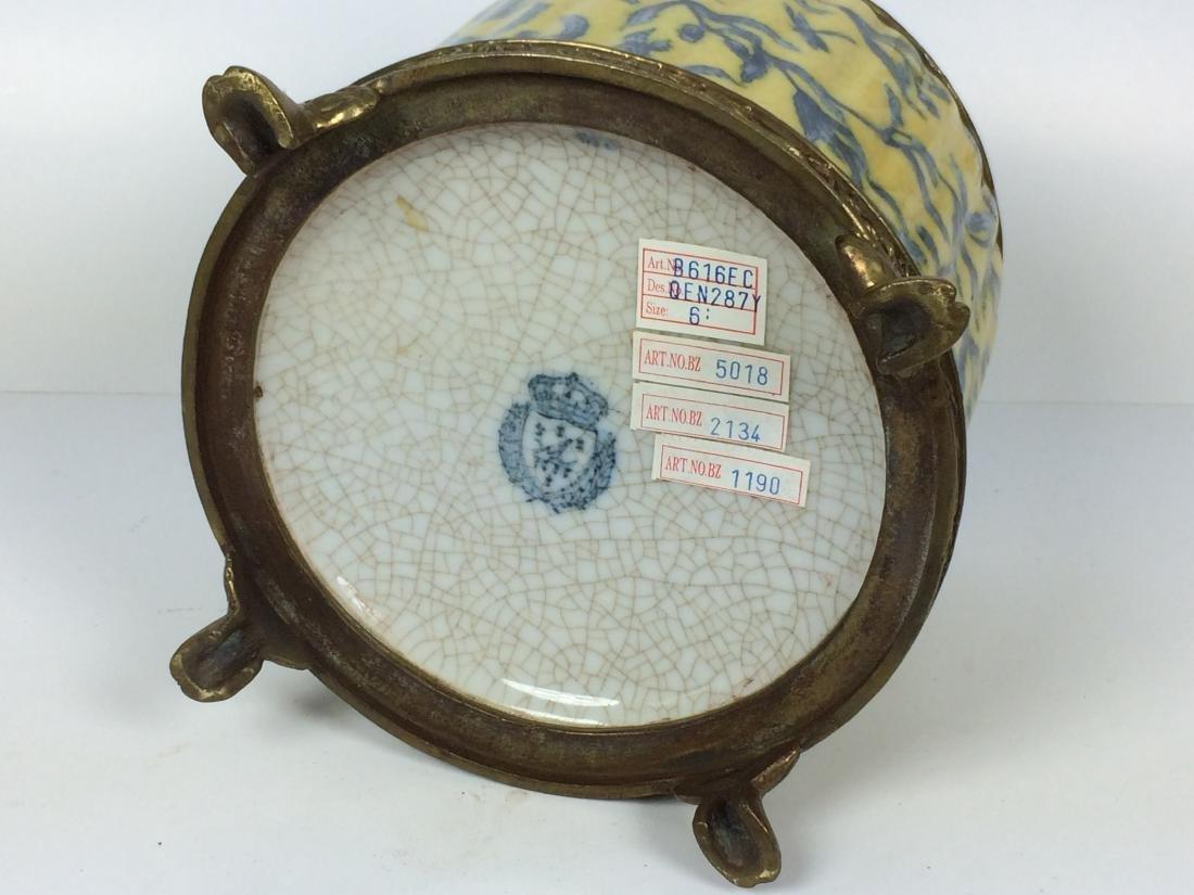 Vintages Porcelain and Bronze Tea Caddy - 5