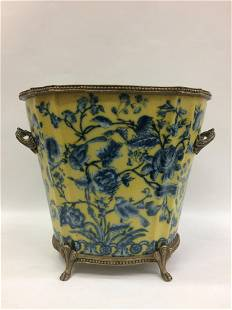 European Porcelain Vase with Floral and Bird Design