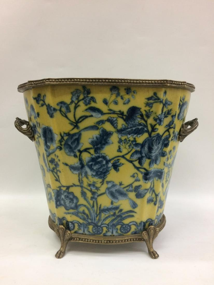 European Porcelain Vase with Floral and Bird Design