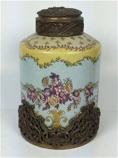 European Porcelain and Bronze Vase with Cover