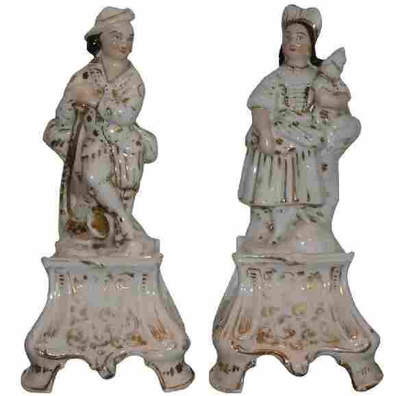 Pair of Antique Old Paris Porcelain Figures