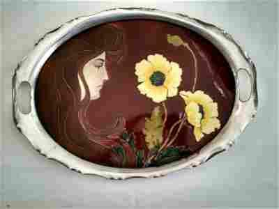 Carl Sigmund Luber Art Nouveau Ceramic Tray