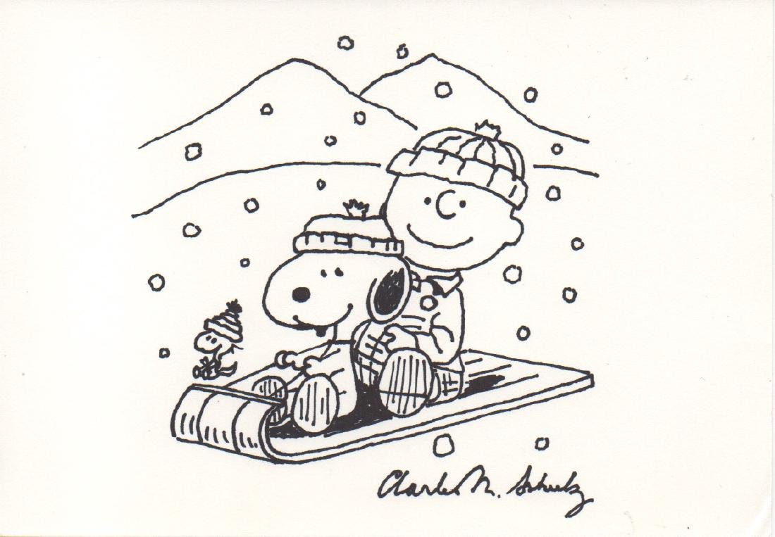 Charles Schulz Charlie Brown Drawing, 1980 - Signed