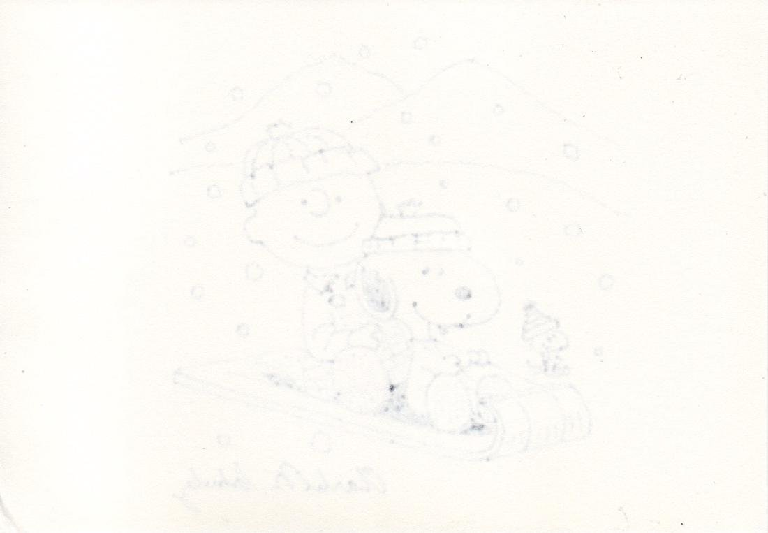 Charles Schulz Charlie Brown Drawing, 1980 - Signed - 2