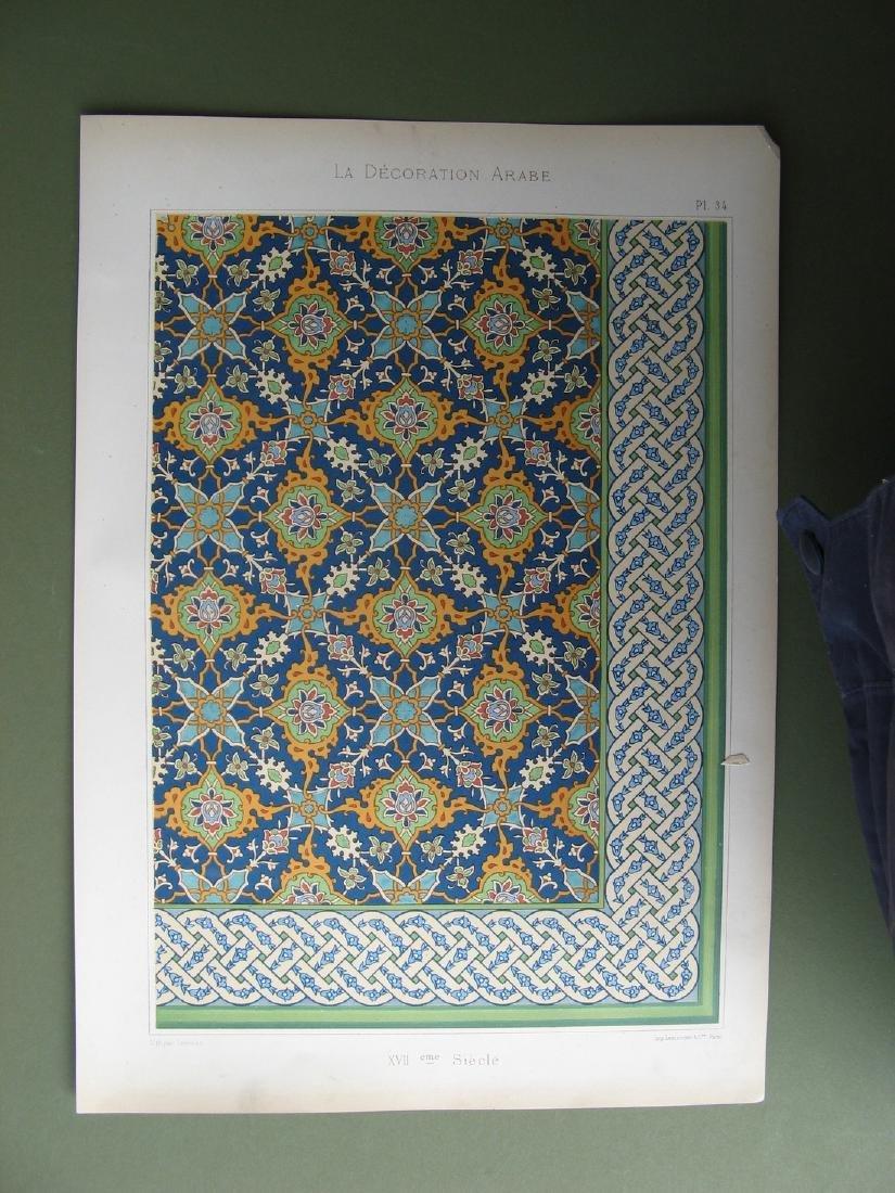 Arab Decoration Wall Tile Lithograph, 1885