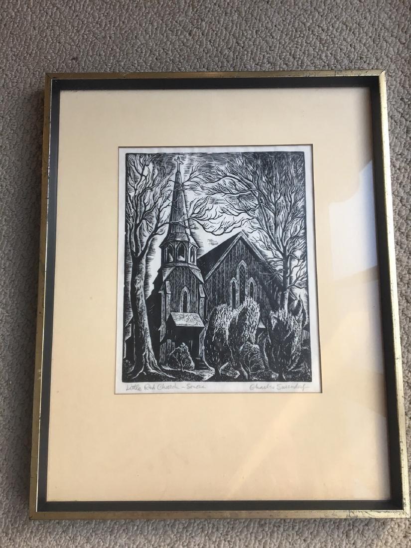 Lot of 3 Framed Wood Engravings by Charles Surendorf
