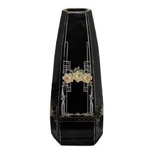 Art Deco Enamel Decorated Austrian Glass Vase