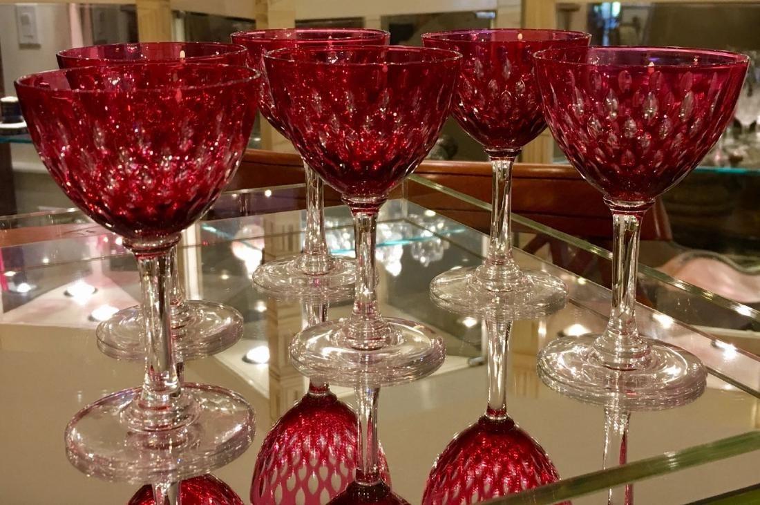6 Antique Baccarat Ruby Crystal Liquor Cocktail Stem