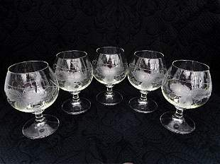 Lot of Pressed/Etched Glass Tableware