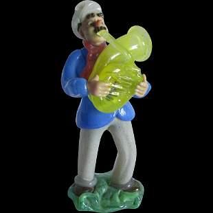Vintage Czech Blown Glass Figurine, Tuba Player