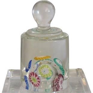 Murano Italian Millefiori Art Glass Knob Paperweight