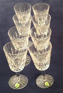 Eight Waterford Crystal Lismore Goblets