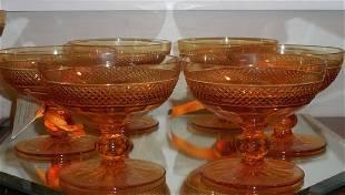 6 Antique American Brilliant Amber Cut Glass Stems