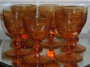 6 Antique American Brilliant Amber Cut Glass Wine Stems