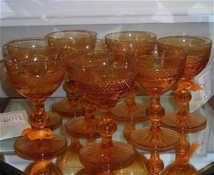 8 Antique American Brilliant Amber Cut Glass Port Stems