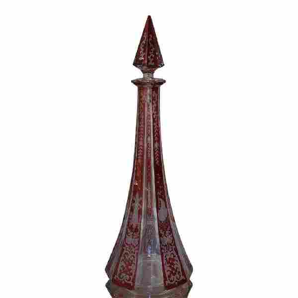 Ruby Flashed Crystal Bohemian Glass Decanter w Scenes