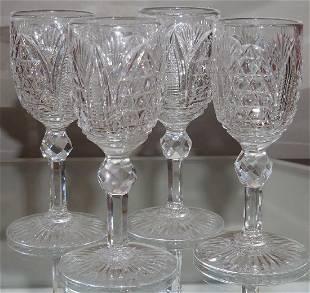 Set 4 Spectacular American Brilliant Cut Glass Cordials