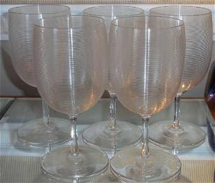 Rare Set 5 Antique Lutz Mt Washington White Wine Stems