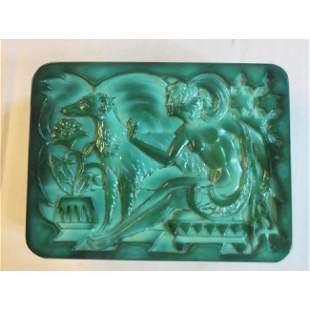 Malachite Glass Vanity Box