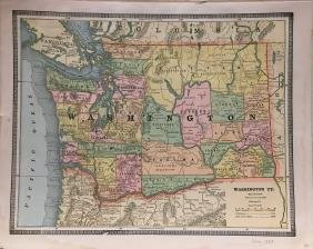 Cram's Washington (territory) Map