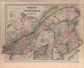 J. H. Colton Canada East (or Lower Canada) Map