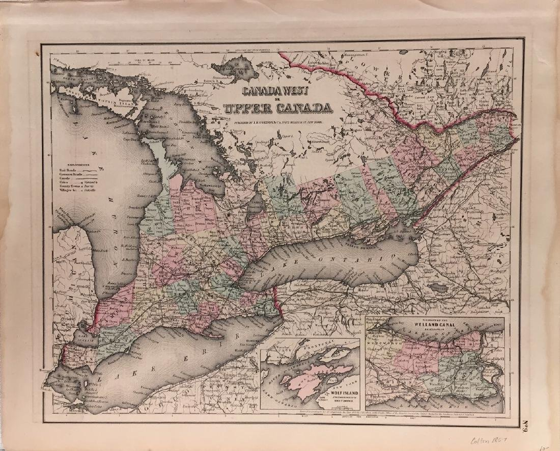J. H. Colton Canada West (or Upper Canada) Map