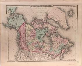 British Russian & Danish in N. America by Colton Map