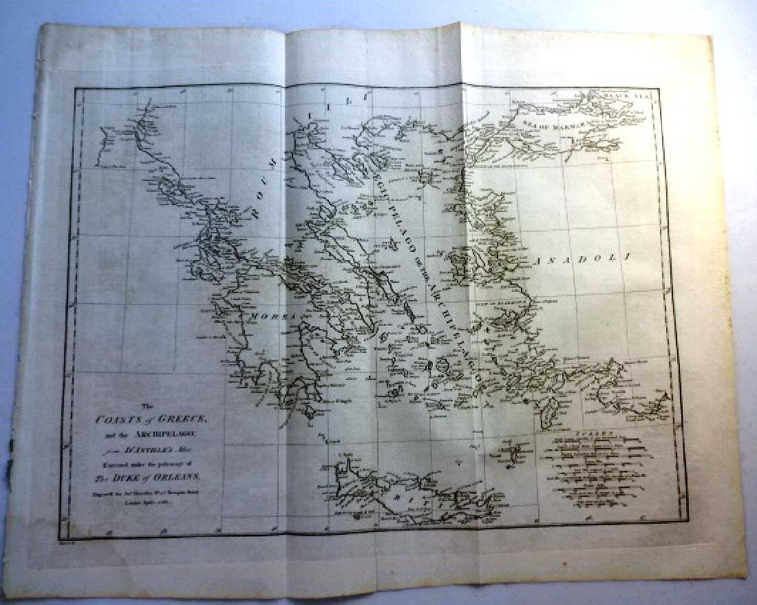 1788 Map The Coasts Of Greece & the Archipelago H.Rapin