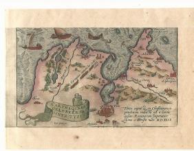 C.1600 Ortelius Hand Colored Map