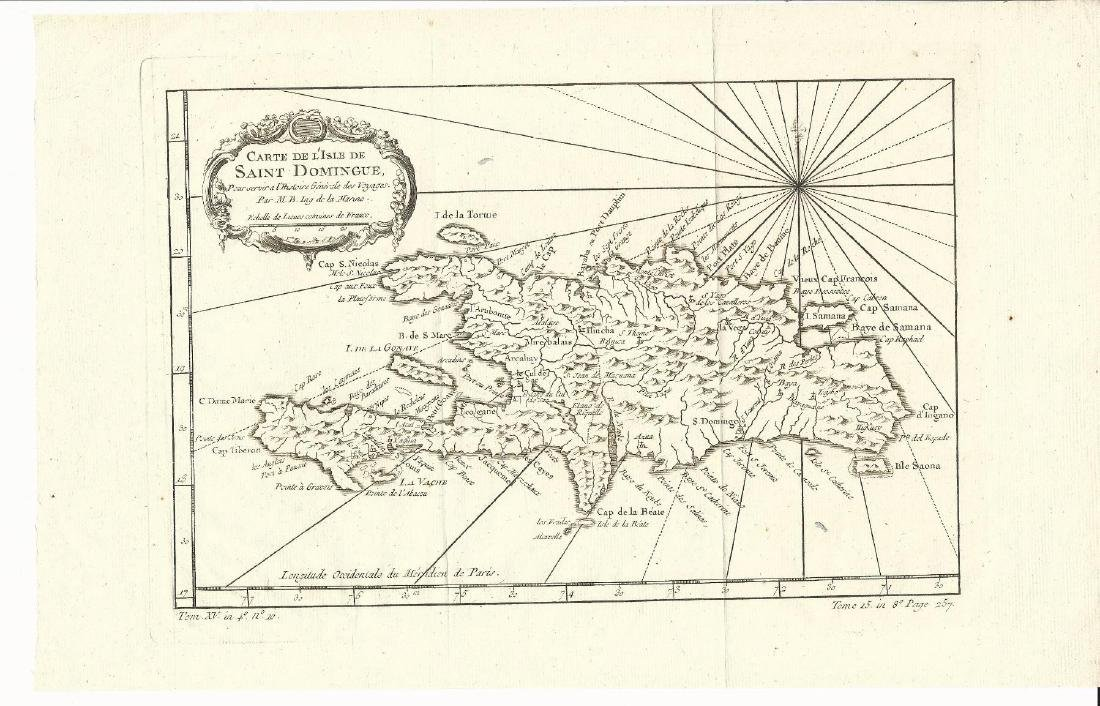 1759 Bellin Map Carte De L'isle De Saint Domingue