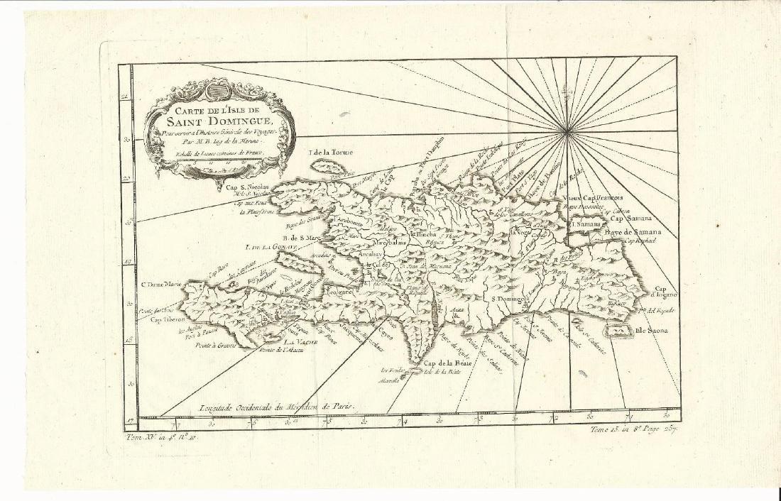 1759 Bellin Map Carte De L'isle De Saint Domingue