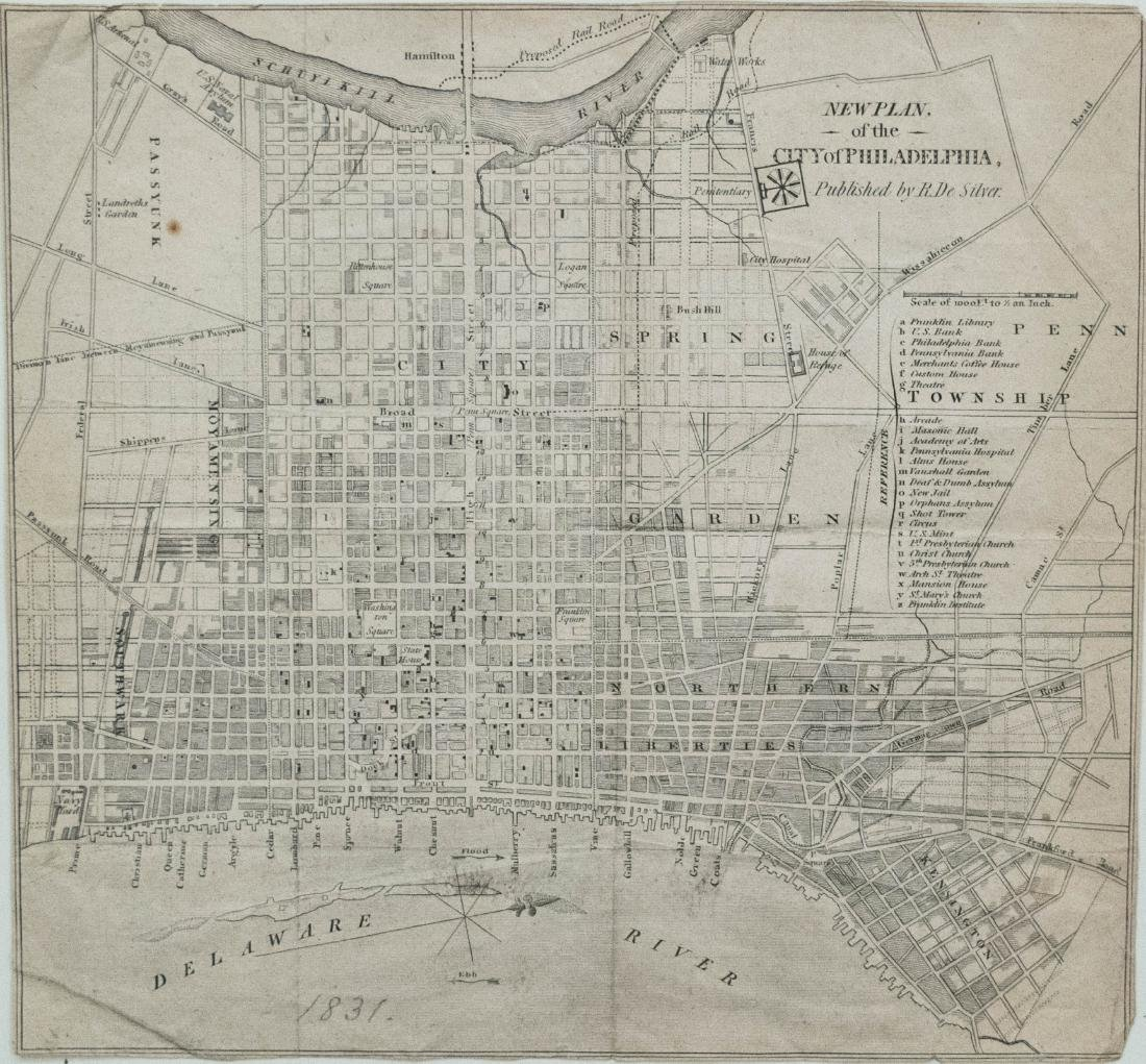 1831 De Silver Map Of Philadelphia